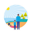 father and son shore sand landscape vector image vector image