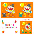 funny clown of find ten differences vector image vector image