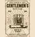 glass whiskey with ice cubes and cigar poster vector image vector image