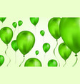 glossy green flying helium balloons backdrop with vector image