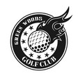 golf ball with fire round vintage emblem vector image vector image