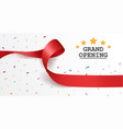 grand opening background with red ribbon vector image