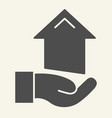 hand with arrow up solid icon growth arrow in vector image
