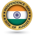 Indian Independence Day 15th of August gold label vector image