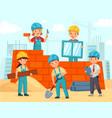 kids build construction little workers in helmets vector image vector image