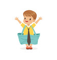 little boy wearing dult oversized shorts and tie vector image vector image