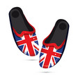 pair fashion slippers with uk flag isolated vector image