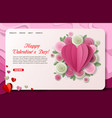 paper cut valentines day landing page vector image vector image