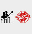 people trend chart icon and distress boys vector image vector image