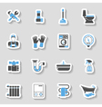 Plumbing Service Icons Sticker Set vector image vector image