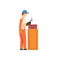 professional builder laying bricks in wall male vector image vector image