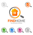 real estate logo design simple realty with pin vector image vector image