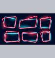 set empty glowing neon frames banner vector image vector image