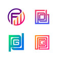 set initial fw pd pdg symbol for business logo vector image vector image