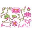set lotus flowers art nouveau vintage style vector image vector image
