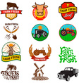 Set of farm fresh products labels emblems and vector image vector image