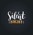 silent night lettering design on black vector image