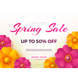 spring sale banner template with paper spring vector image vector image