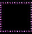 square frame made of pink animal paw prints vector image vector image