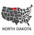state of north dakota on map of usa vector image vector image