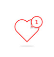 thin line heart like notification vector image vector image