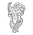 tiki head line art vector image vector image
