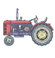 vintage agricultural tractor sketch hand drawn vector image