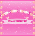 wedding flags and marry ribbon sweet background vector image vector image