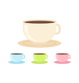 Flat coffee cup in cartoon style isolated vector image