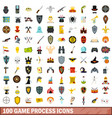 100 game process icons set flat style vector image vector image