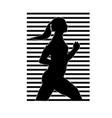 a silhouette of the running girl of black color vector image
