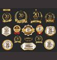 anniversary golden laurel wreath and badges 20 vector image vector image