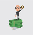 bald head businessman on banknotes vector image vector image