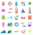 Beach color icons on white background vector image