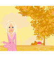 beautiful girl in autumn park vector image