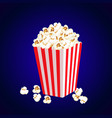 carton bowl full of popcorn vector image