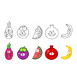 cartoon fruits set coloring book pages for kids vector image vector image