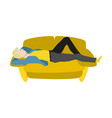 cartoon man lying at sofa resting vector image