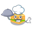 chef with food baklava in a the character bowl vector image