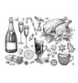 christmas traditional food and drink set holiday vector image vector image