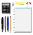 collection of office supplies on a white vector image vector image