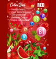 color detox diet red products day menu vector image vector image