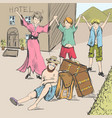 comic strip tired travelers came to civilization vector image