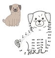 Connect the dots to draw the cute dog vector image vector image
