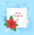 cute christmas card with poinsettia wreath and vector image