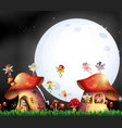 cute fairies flying over mushroom house vector image vector image