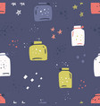 empty jars hand drawn color seamless pattern vector image