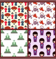 flat colored symbols of japan travel vector image