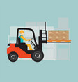 forklift in warehouse isolated on background vector image vector image