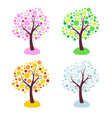 four seasons trees stylized with circles isolated vector image